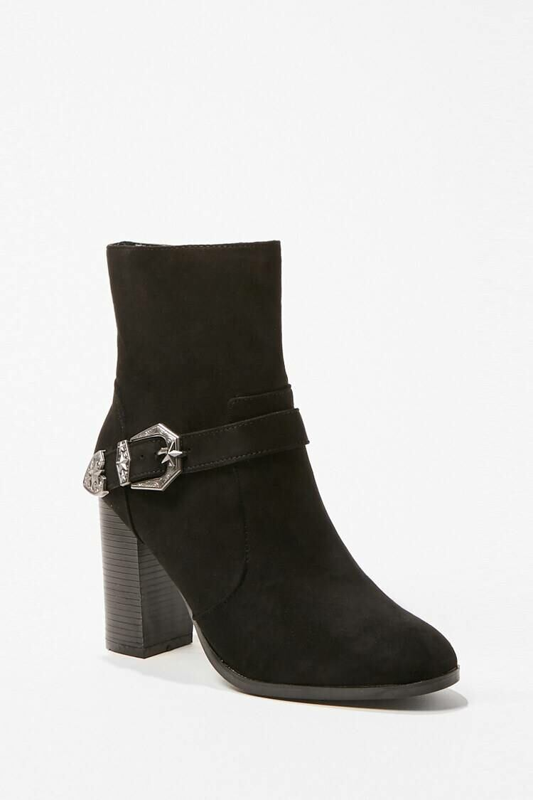 Forever 21 Black Buckle Accent Ankle Boots WOMEN Women SHOES Womens ANKLE BOOTS