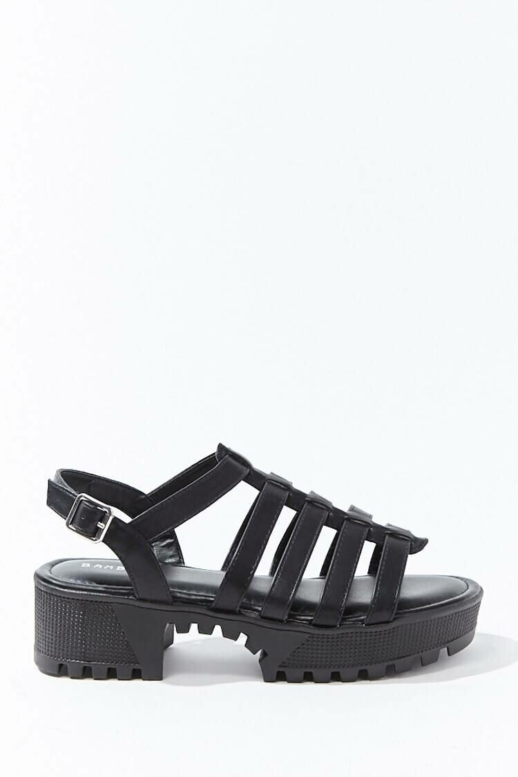 Forever 21 Black Caged Platform Sandals WOMEN Women SHOES Womens SANDALS