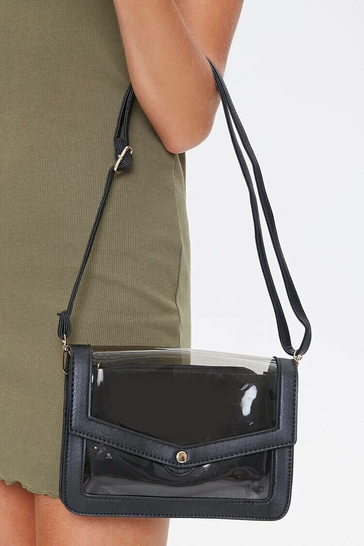 Forever 21 Black Clear-Panel Crossbody Bag WOMEN Women ACCESSORIES Womens BAGS