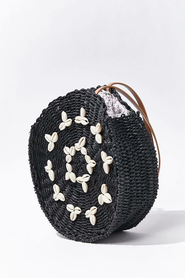 Forever 21 Black Cowrie Shell Straw Tote Bag WOMEN Women ACCESSORIES Womens BAGS