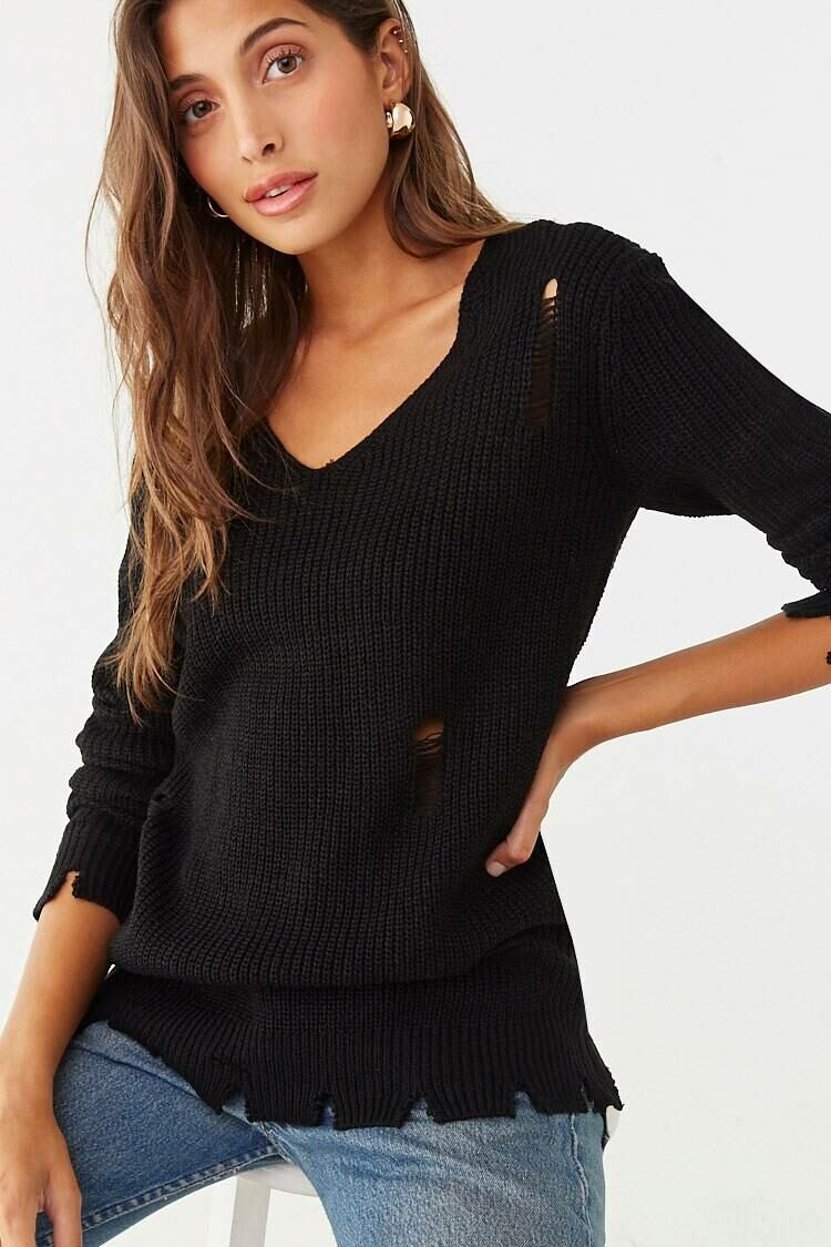 Forever 21 Black Distressed Ribbed Sweater WOMEN Women FASHION Womens SWEATERS