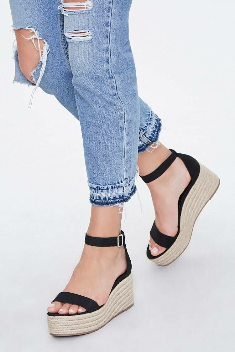 Forever 21 Black Espadrille Platform Wedges WOMEN Women SHOES Womens SLIPPERS