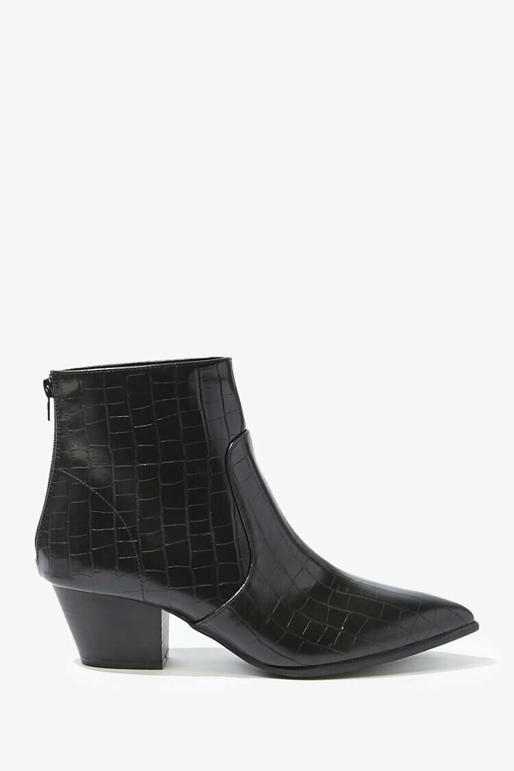Forever 21 Black Faux Croc Leather Ankle Boots WOMEN Women SHOES Womens ANKLE BOOTS