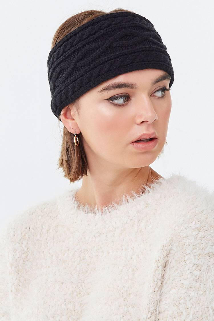 Forever 21 Black Faux Fur-Lined Headwrap WOMEN Women ACCESSORIES Womens HATS