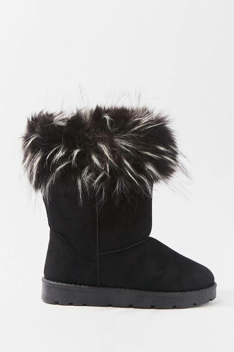 Forever 21 Black Faux Fur-Trim Ankle Booties WOMEN Women SHOES Womens ANKLE BOOTS