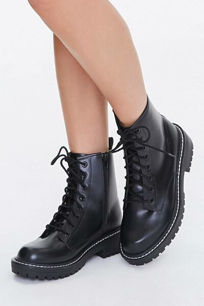 Forever 21 Black Faux Leather Ankle Boots (Wide) WOMEN Women SHOES Womens ANKLE BOOTS