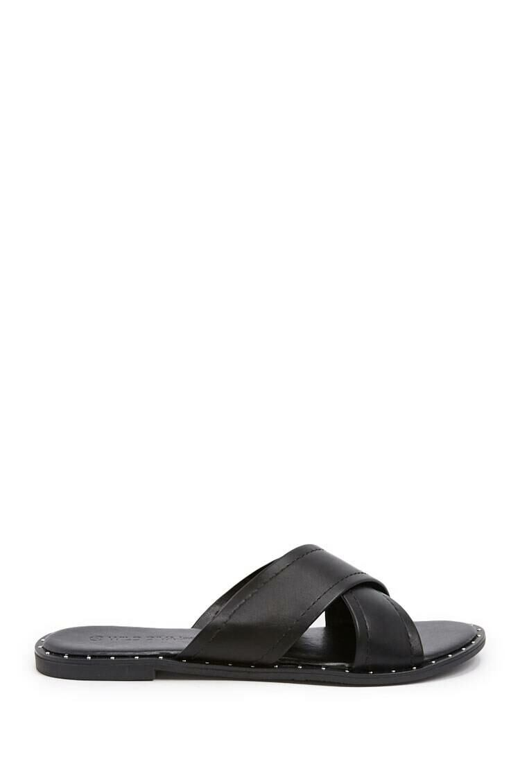 Forever 21 Black Faux Leather Crisscross Slides WOMEN Women SHOES Womens SLIPPERS