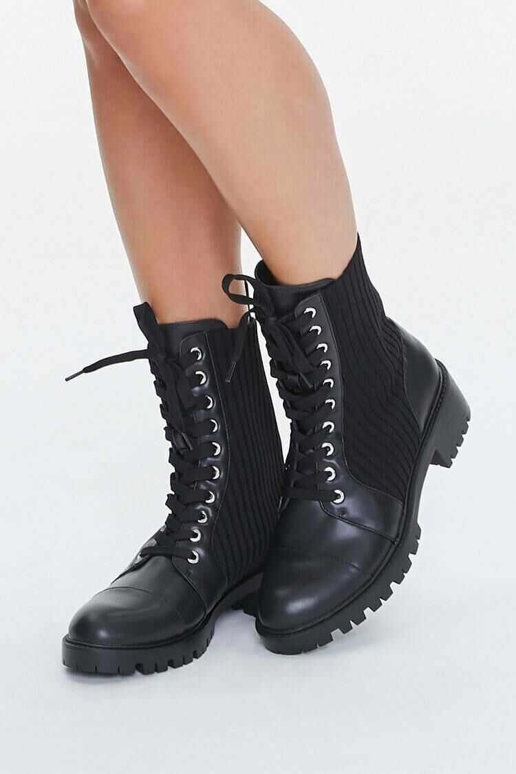 Forever 21 Black Faux Leather Lace-Up Booties WOMEN Women SHOES Womens ANKLE BOOTS