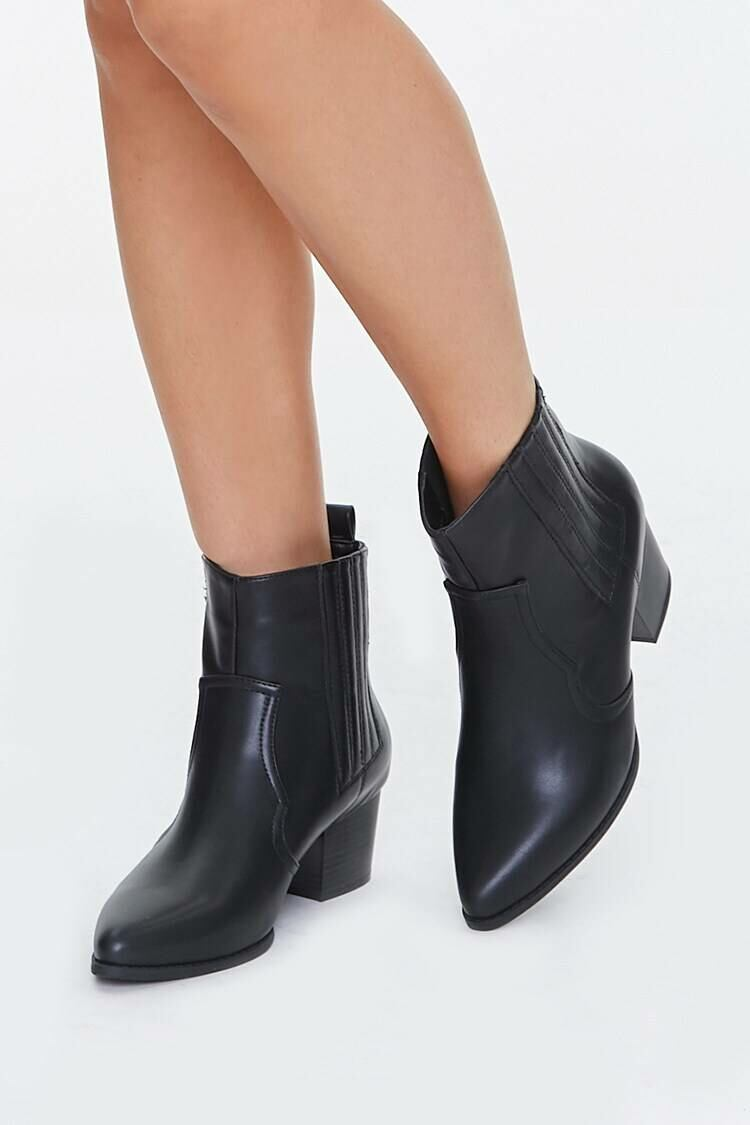 Forever 21 Black Faux Leather Pointed Toe Booties WOMEN Women SHOES Womens ANKLE BOOTS