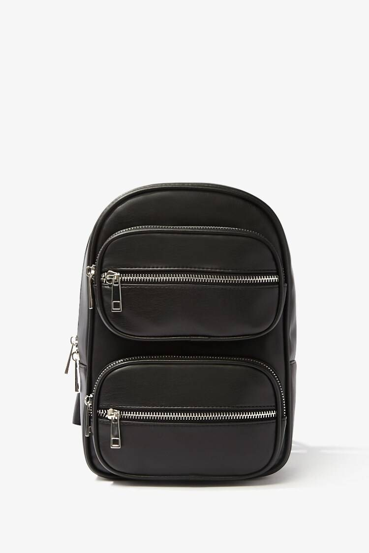 Forever 21 Black Faux Leather Zippered Backpack WOMEN Women ACCESSORIES Womens BAGS