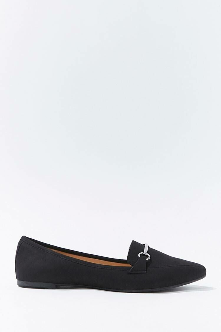Forever 21 Black Faux Suede Bar-Accent Loafers WOMEN Women SHOES Womens FLAT SHOES