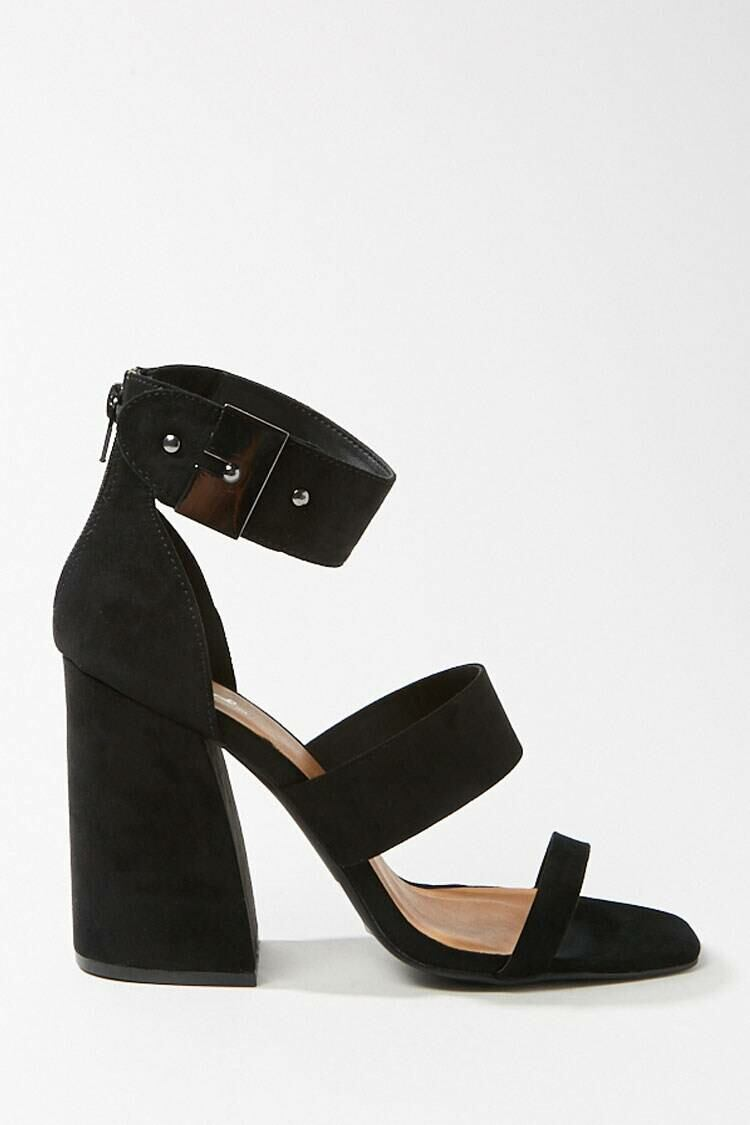 Forever 21 Black Faux Suede Caged Block Heels WOMEN Women SHOES Womens HIGH HEELS