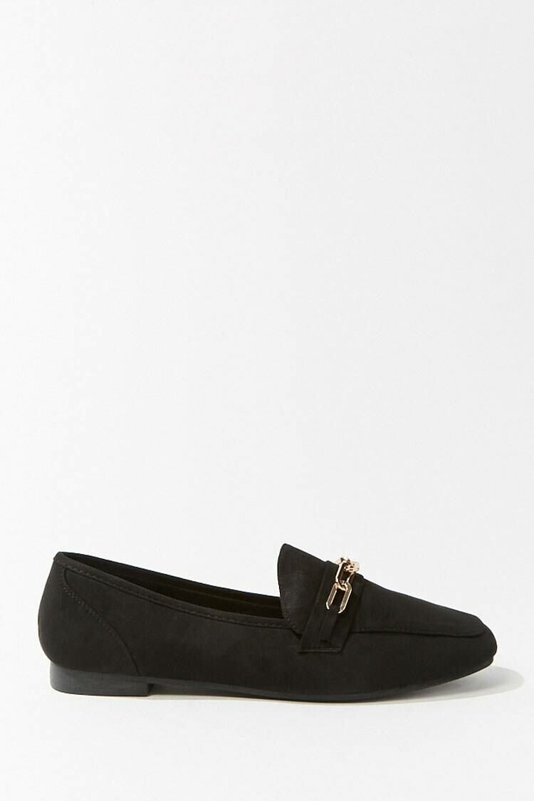 Forever 21 Black Faux Suede Chain Accent Loafers WOMEN Women SHOES Womens FLAT SHOES