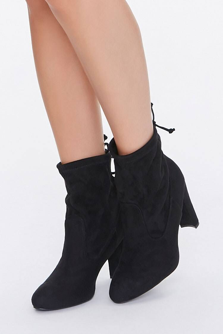 Forever 21 Black Faux Suede Lace-Up Booties WOMEN Women SHOES Womens ANKLE BOOTS