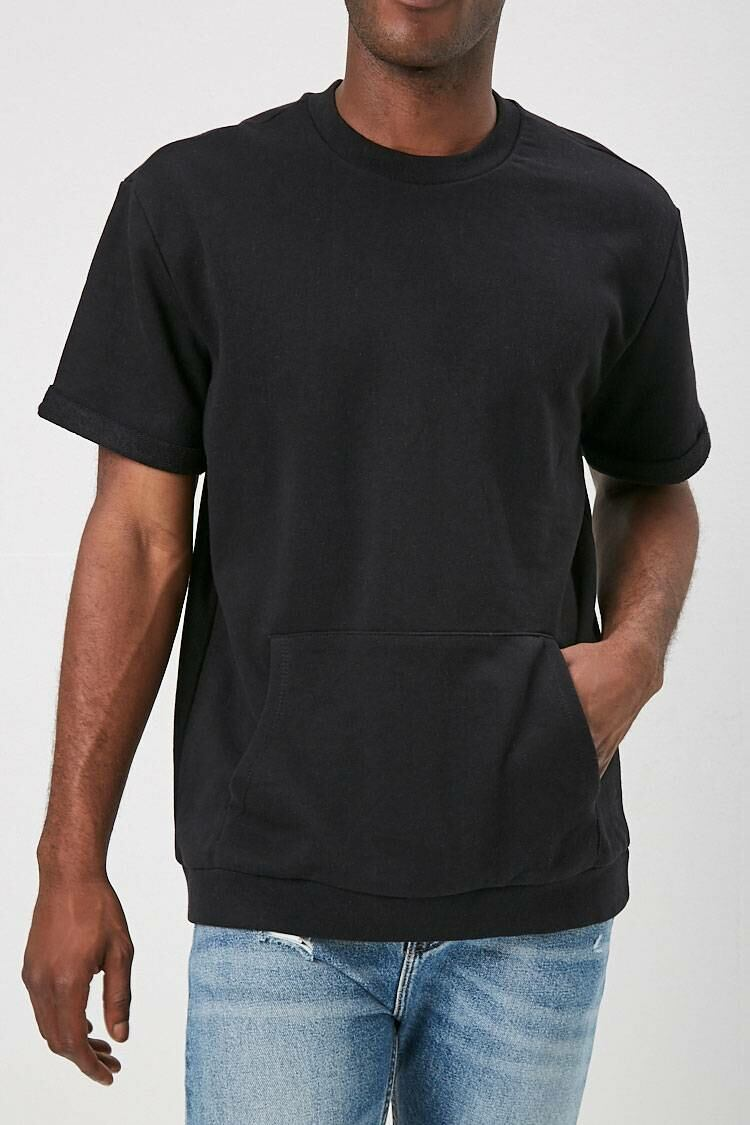 Forever 21 Black French Terry Kangaroo-Pocket Tee MEN Men FASHION Mens T-SHIRTS