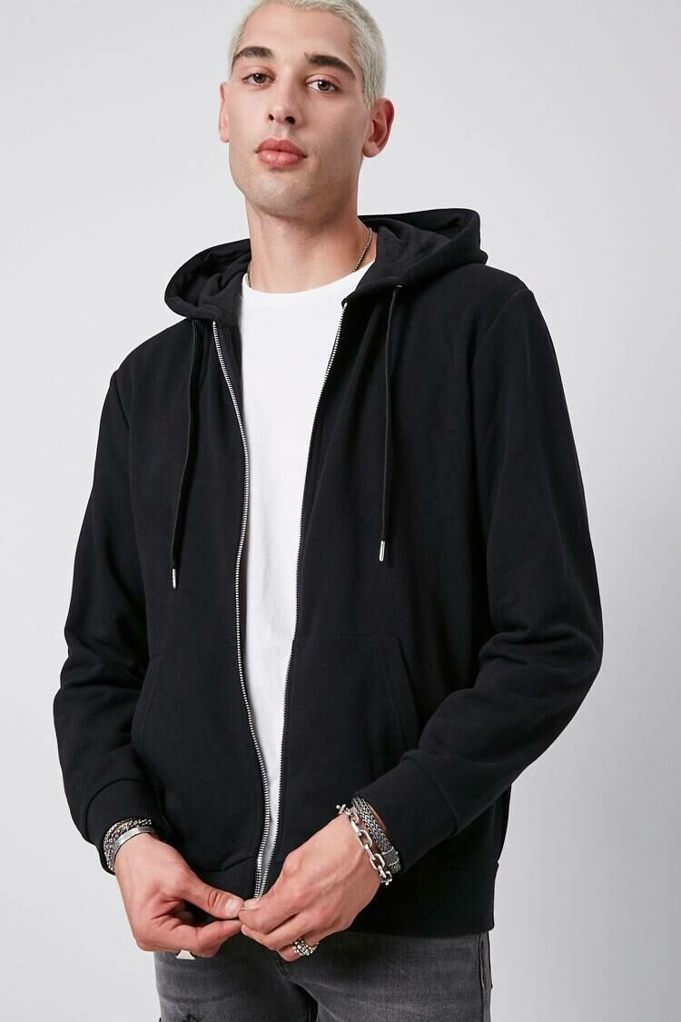 Forever 21 Black French Terry Zip-Up Hoodie MEN Men FASHION Mens SWEATERS