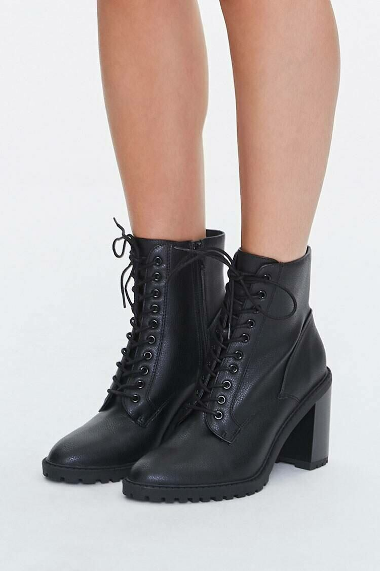 Forever 21 Black Lace-Up Block Heel Booties WOMEN Women SHOES Womens ANKLE BOOTS