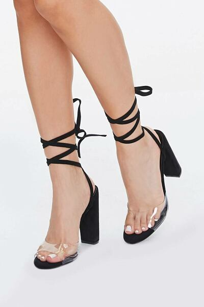 Forever 21 Black Lace-Up Clear-Strap Heels WOMEN Women SHOES Womens HIGH HEELS