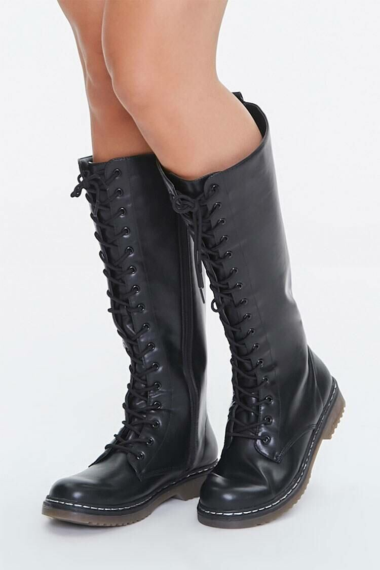 Forever 21 Black Lace-Up Combat Boots WOMEN Women SHOES Womens BOOTS