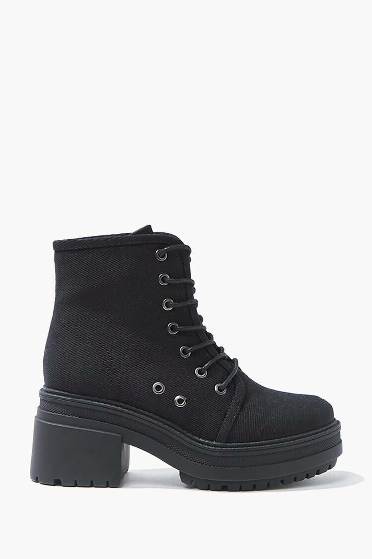 Forever 21 Black Lace-Up Platform Ankle Boots WOMEN Women SHOES Womens ANKLE BOOTS