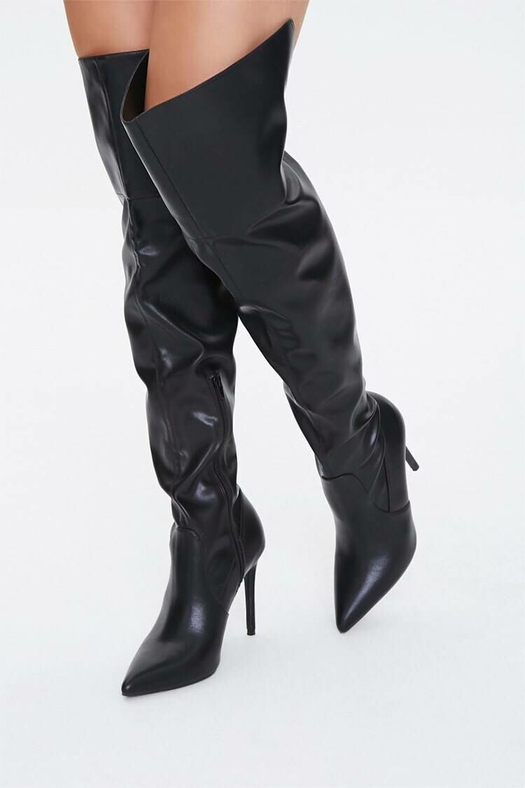 Forever 21 Black Over-the-Knee Stiletto Boots WOMEN Women SHOES Womens BOOTS