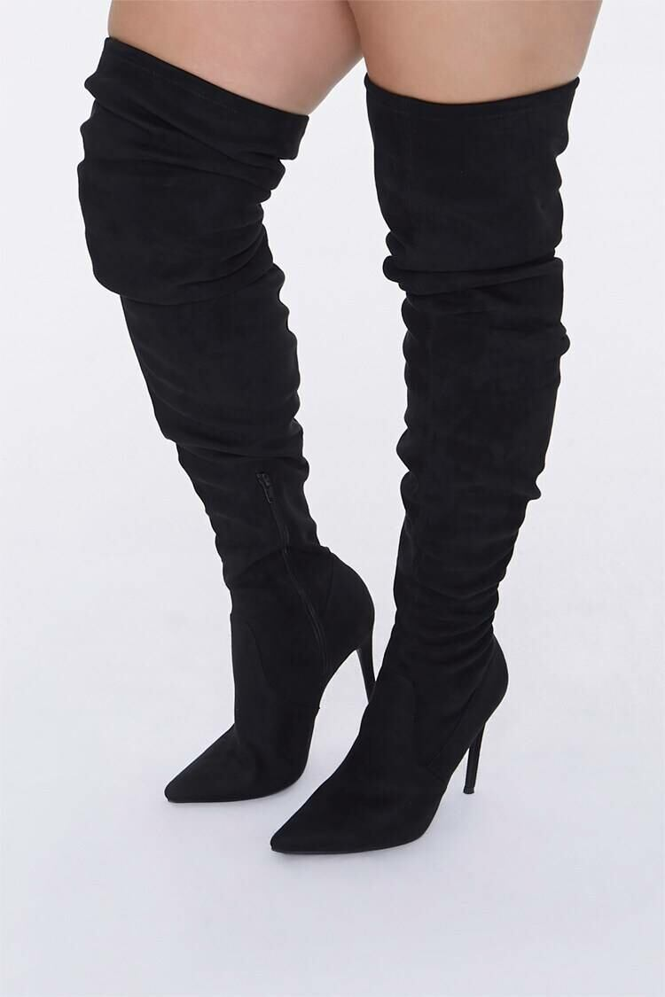 Forever 21 Black Over-the-Knee Stiletto Boots (Wide) WOMEN Women SHOES Womens BOOTS