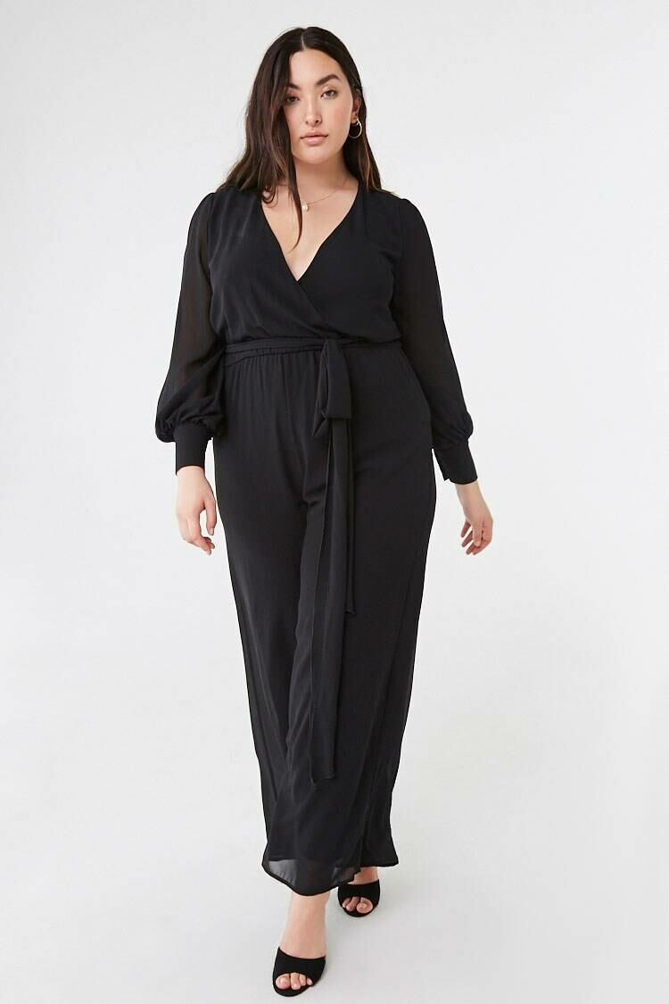 Forever 21 Black Plus Size Belted Chiffon Jumpsuit WOMEN Women FASHION Womens JUMPSUITS