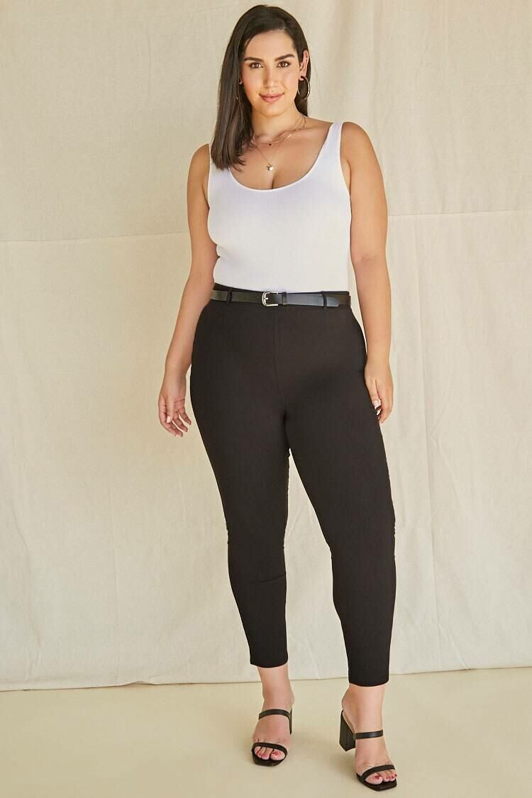 Forever 21 Black Plus Size Belted Harper Pants WOMEN Women FASHION Womens TROUSERS
