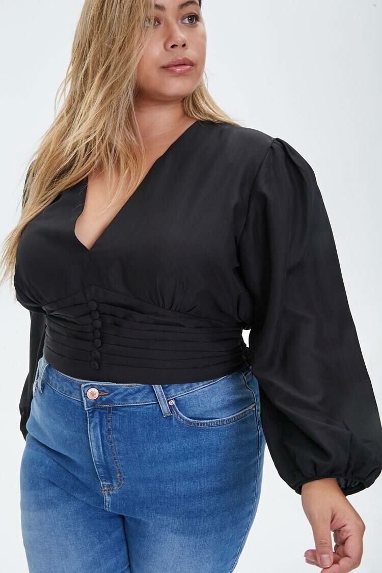 Forever 21 Black Plus Size Pintucked Crepe Top WOMEN Women FASHION Womens TOPS