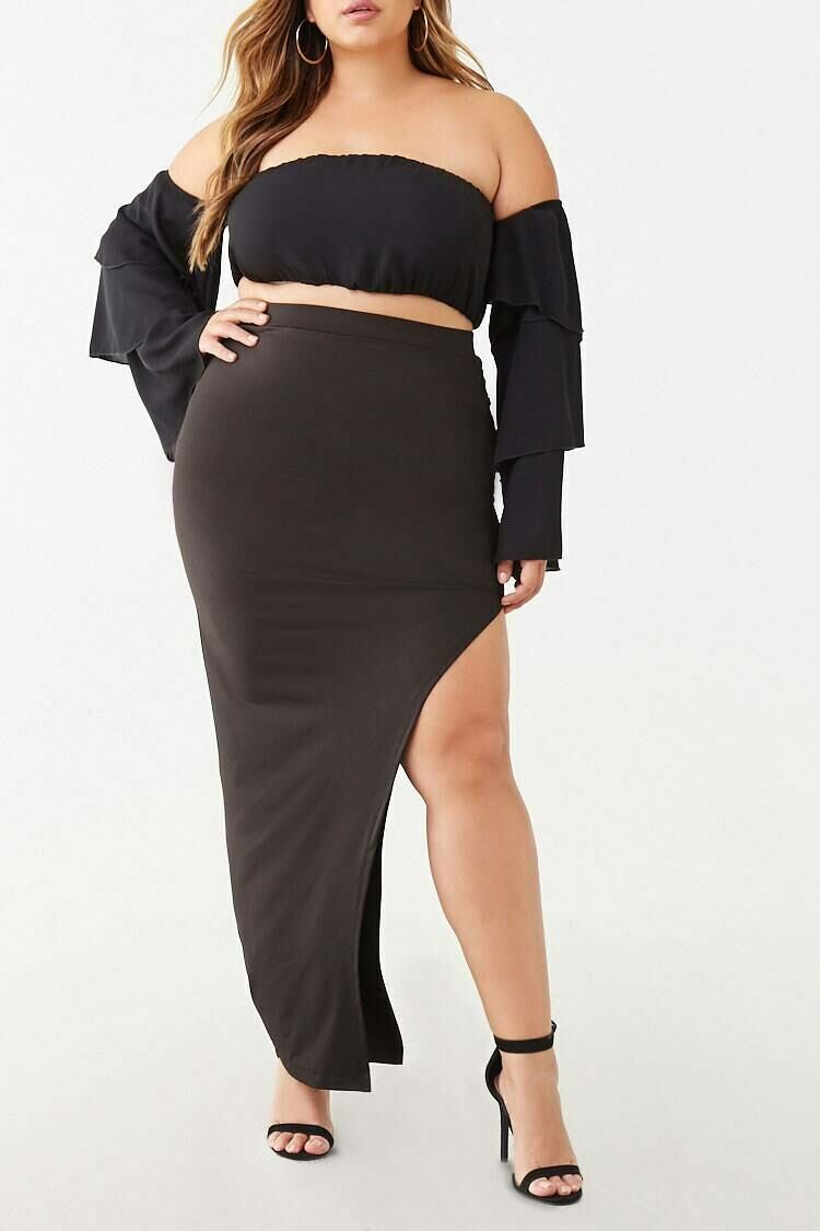 Forever 21 Black Plus Size Ruched Maxi Skirt WOMEN Women FASHION Womens SKIRTS