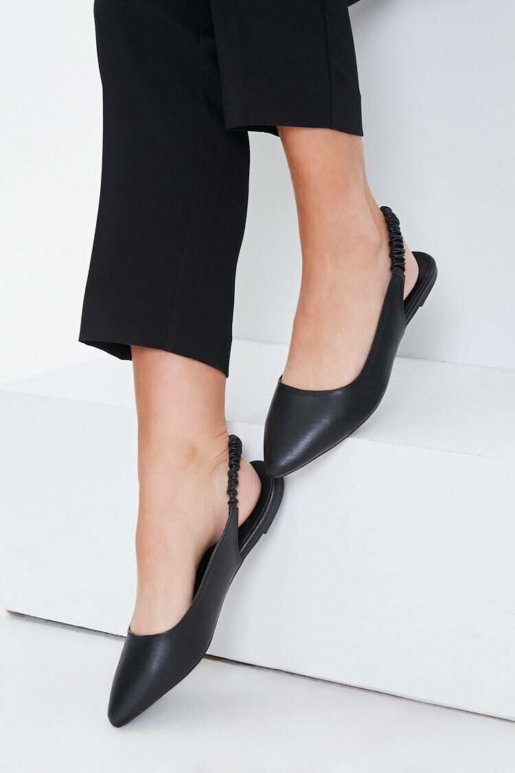 Forever 21 Black Pointed Toe Slingback Flats WOMEN Women SHOES Womens FLAT SHOES