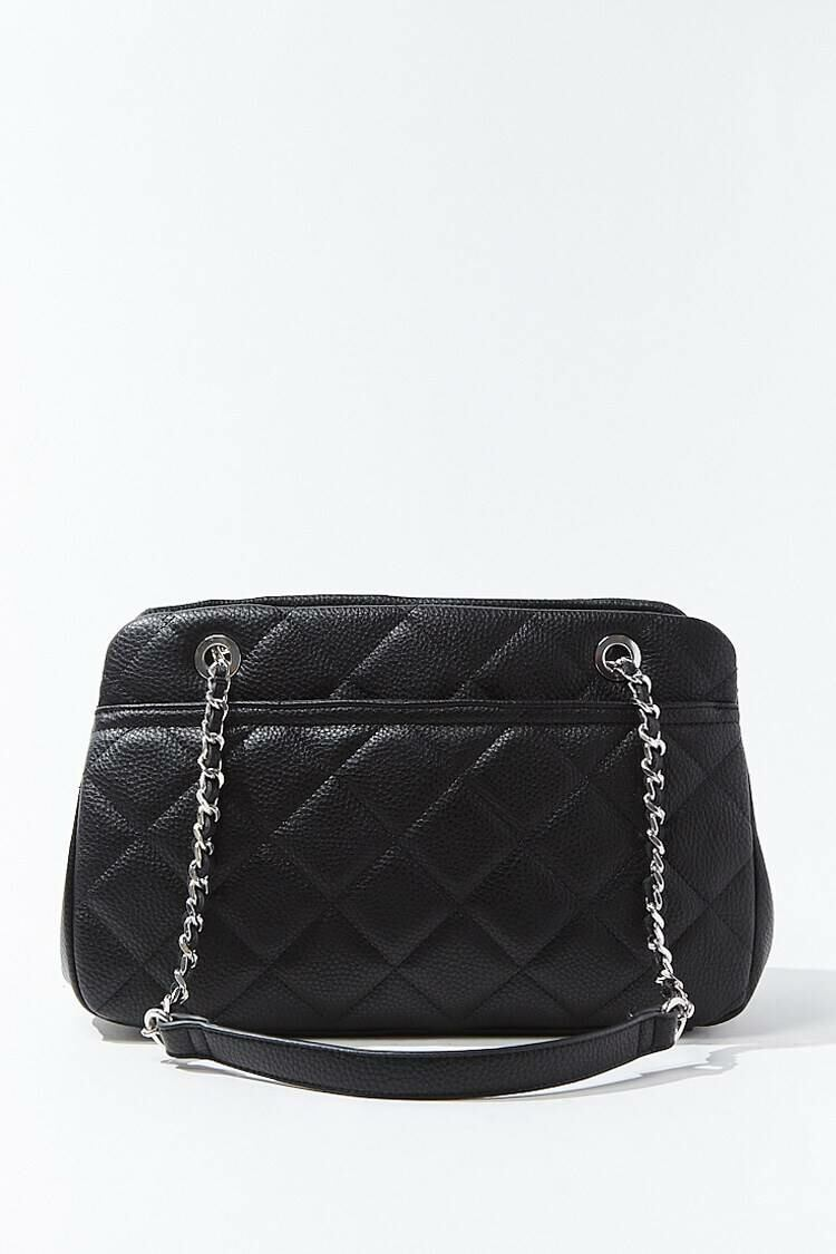 Forever 21 Black Quilted Shoulder Bag WOMEN Women ACCESSORIES Womens BAGS
