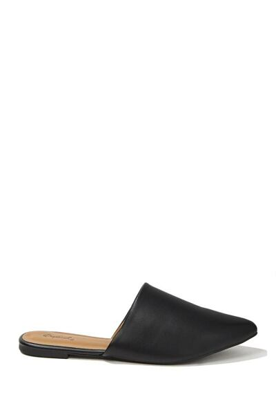Forever 21 Black Qupid Faux Leather Pointed Mules WOMEN Women SHOES Womens SLIPPERS