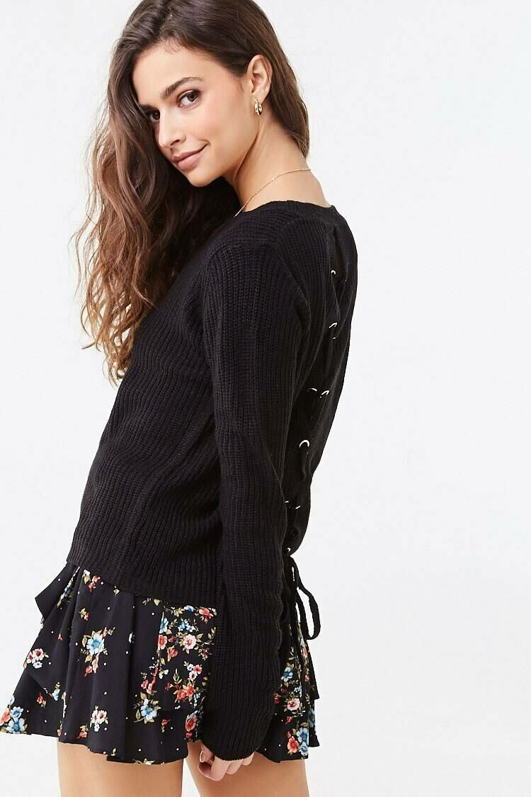 Forever 21 Black Ribbed Lace-Up Sweater WOMEN Women FASHION Womens SWEATERS