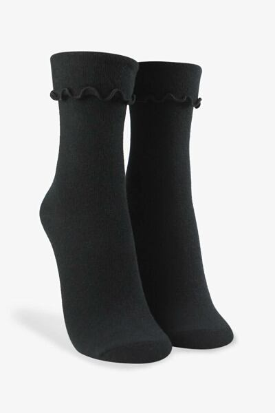 Forever 21 Black Ribbed Lettuce-Edge Crew Socks WOMEN Women ACCESSORIES Womens SOCKS