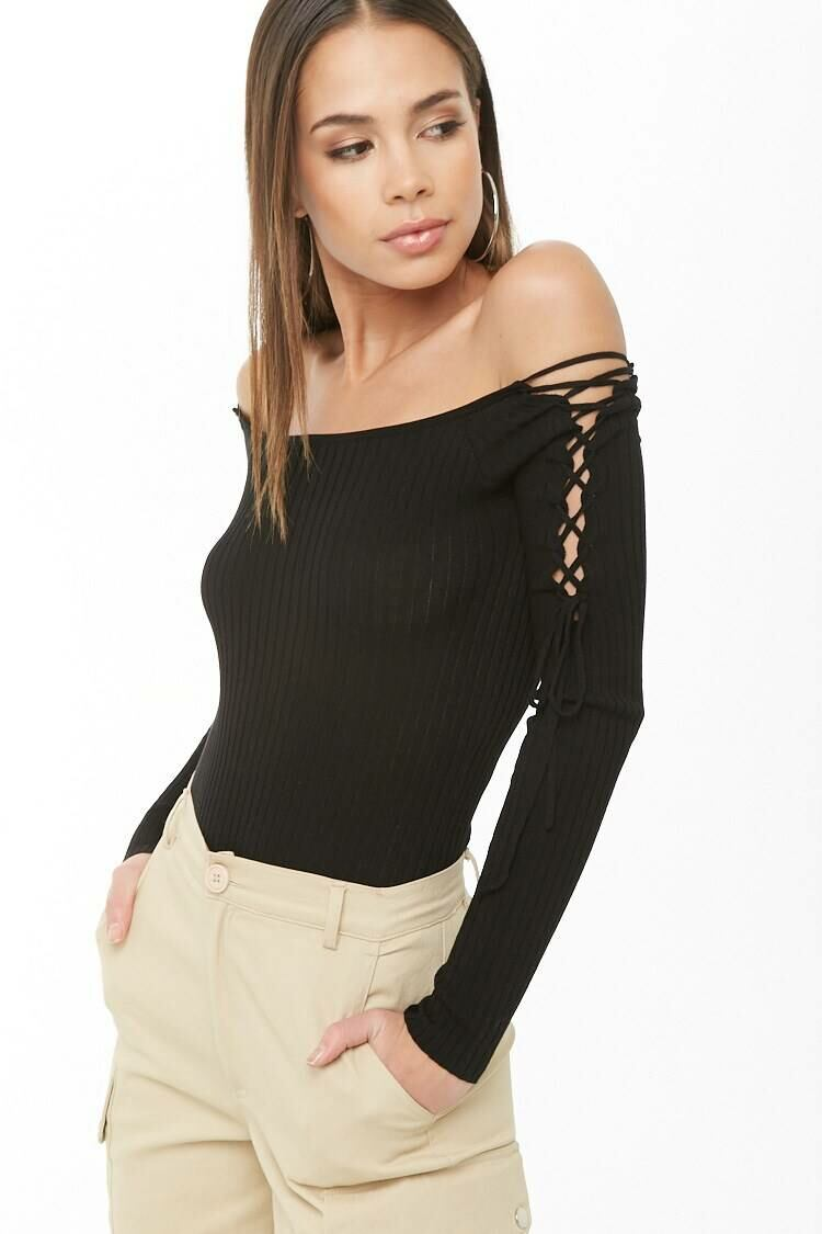 Forever 21 Black Ribbed Off-The-Shoulder Bodysuit WOMEN Women FASHION Womens JUMPSUITS