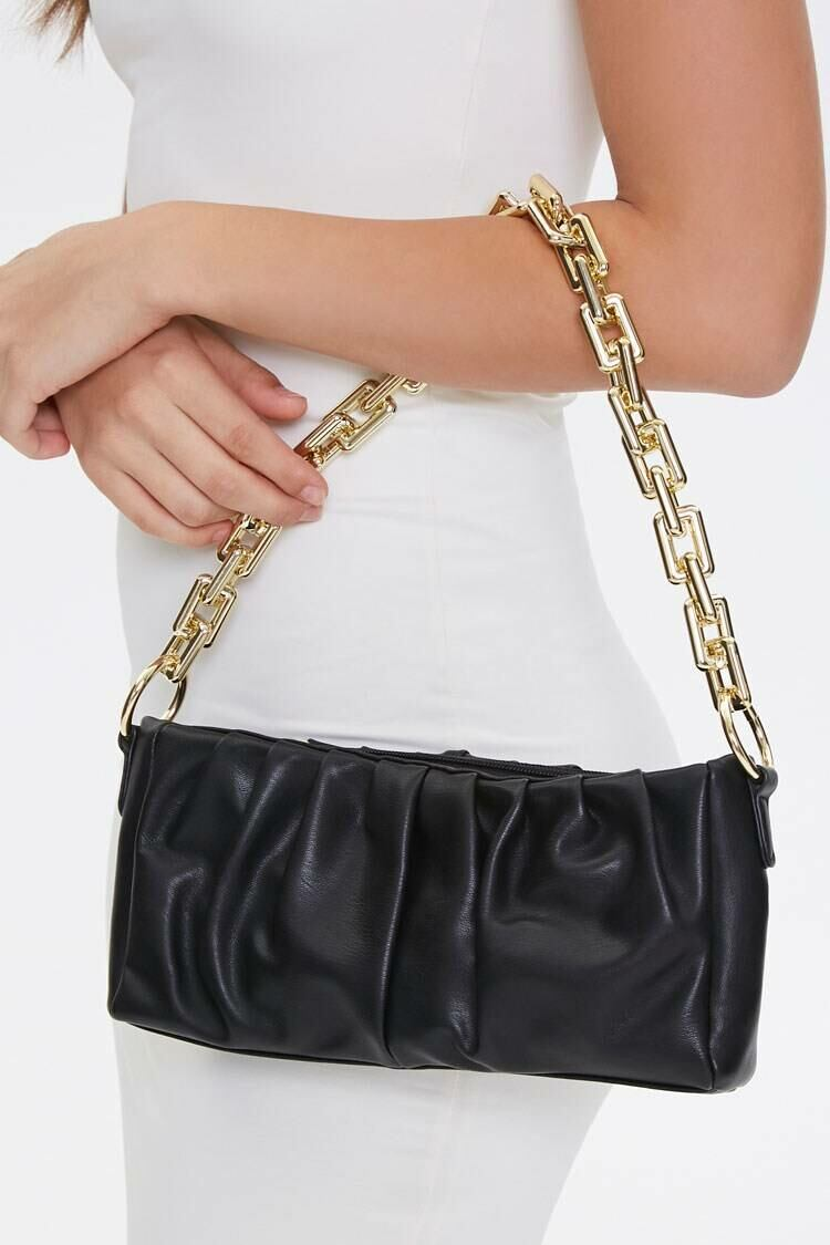 Forever 21 Black Ruched Shoulder Bag WOMEN Women ACCESSORIES Womens BAGS