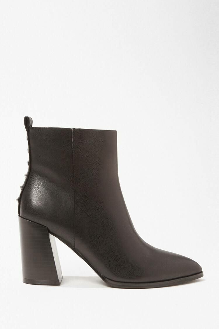 Forever 21 Black Spiked-Trim Faux Leather Booties WOMEN Women SHOES Womens ANKLE BOOTS
