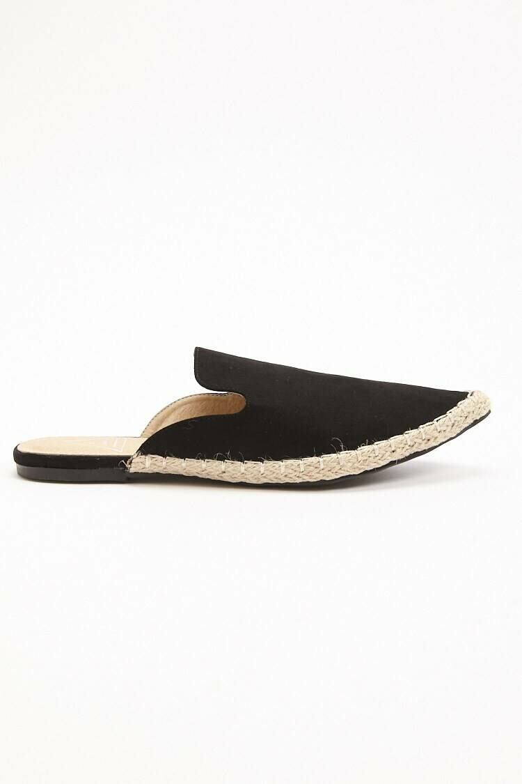 Forever 21 Black St. Sana Faux Leather Espadrille Mules WOMEN Women SHOES Womens SLIPPERS