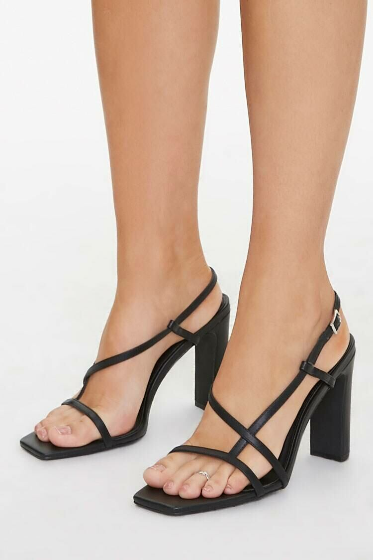Forever 21 Black Strappy Faux Leather Block Heels WOMEN Women SHOES Womens HIGH HEELS