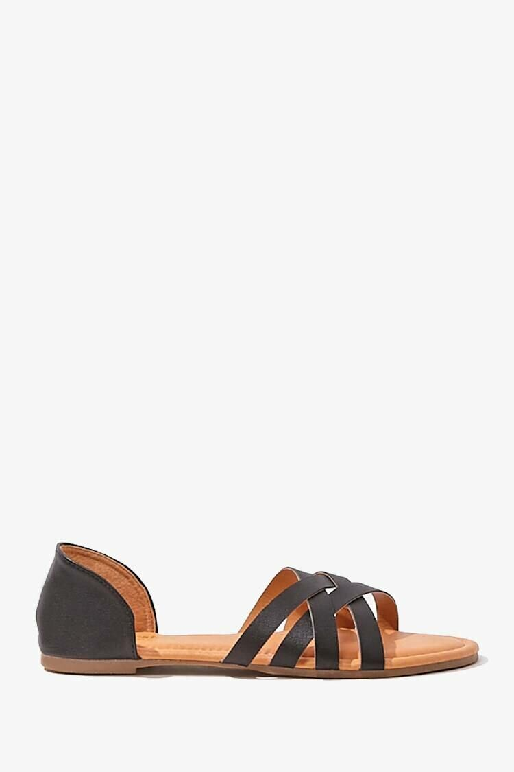 Forever 21 Black Strappy Faux Leather Sandals WOMEN Women SHOES Womens SANDALS