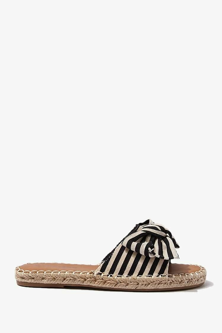 Forever 21 Black Striped Knotted Bow Sandals WOMEN Women SHOES Womens SANDALS