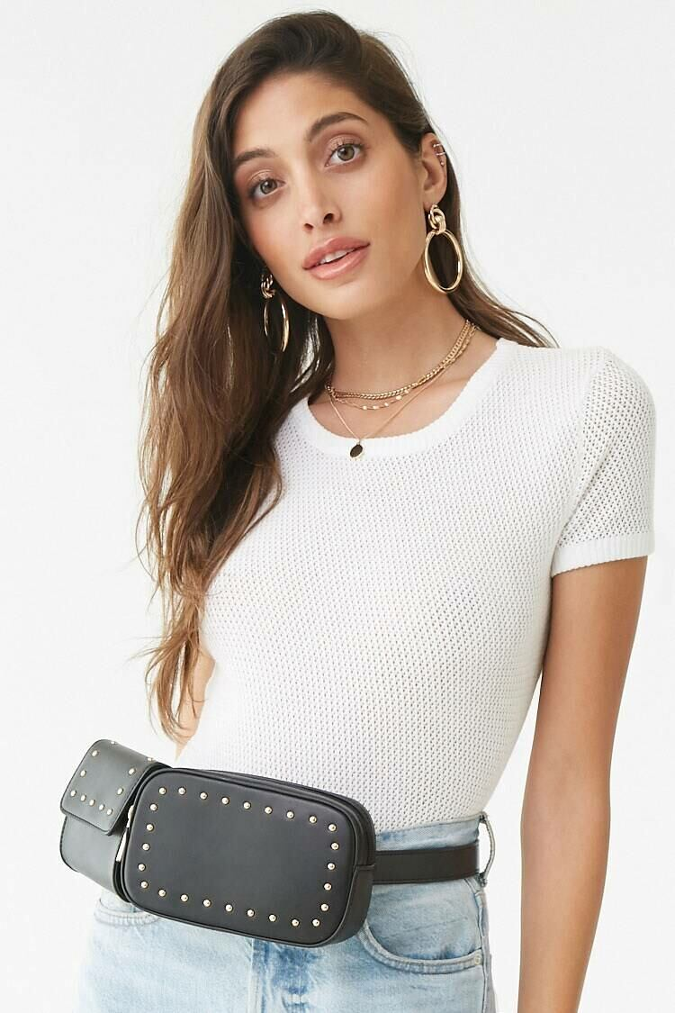 Forever 21 Black Studded Faux Leather Belt Bag WOMEN Women ACCESSORIES Womens BAGS