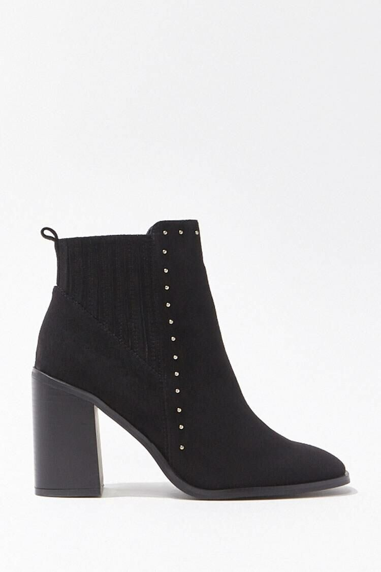 Forever 21 Black Studded Faux Suede Booties WOMEN Women SHOES Womens ANKLE BOOTS