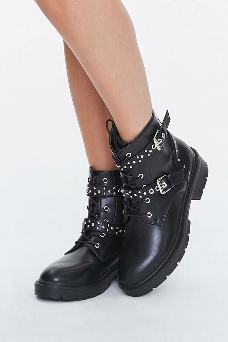 Forever 21 Black Studded Strap Ankle Boots WOMEN Women SHOES Womens ANKLE BOOTS