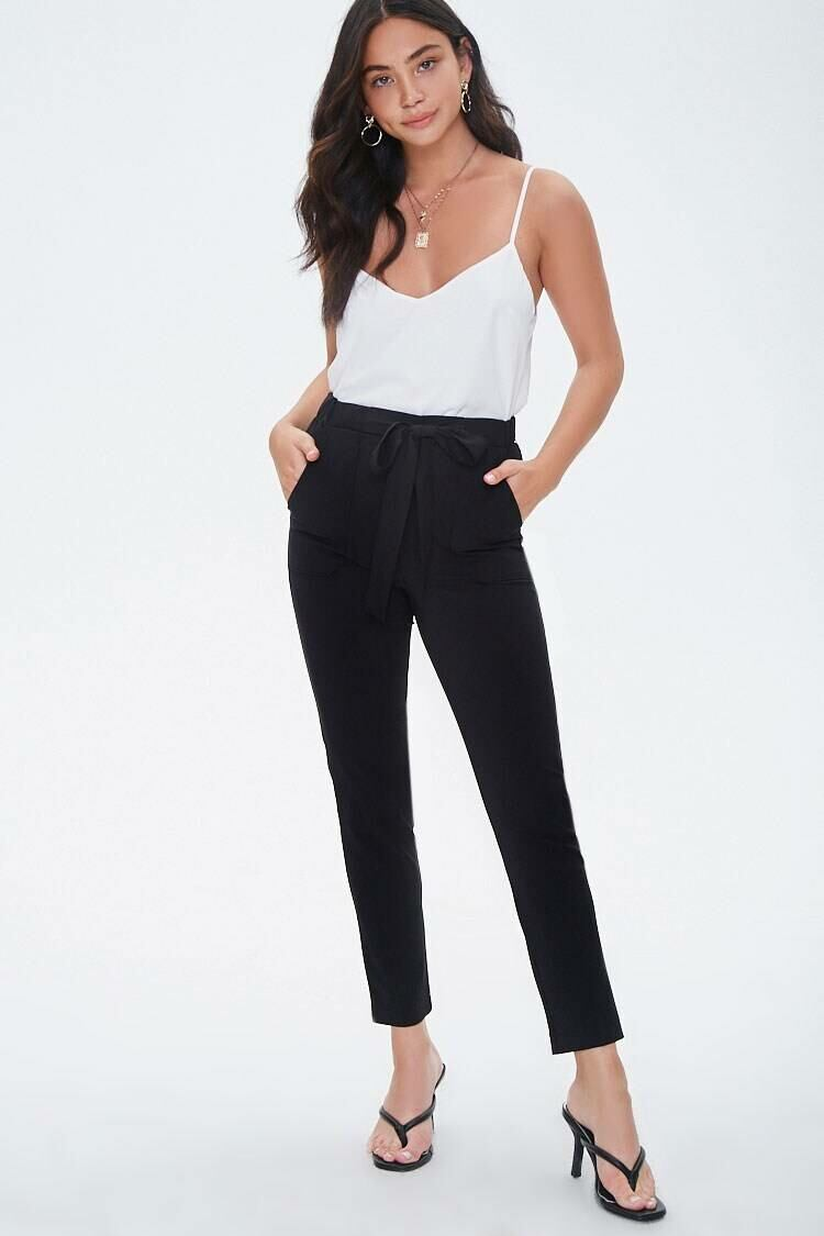Forever 21 Black Tapered Pull-On Ankle Pants WOMEN Women FASHION Womens TROUSERS
