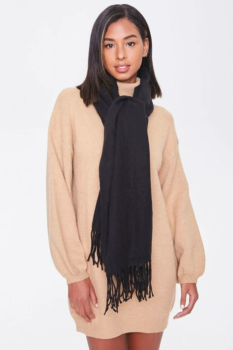Forever 21 Black Tassel Oblong Scarf WOMEN Women ACCESSORIES Womens SCARFS