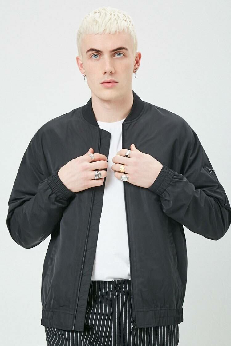 Forever 21 Black Zippered Bomber Jacket MEN Men FASHION Mens JACKETS
