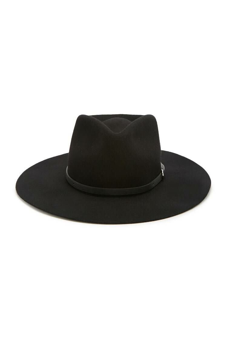 Forever 21 Black/Black Wide Brim Fedora WOMEN Women ACCESSORIES Womens HATS