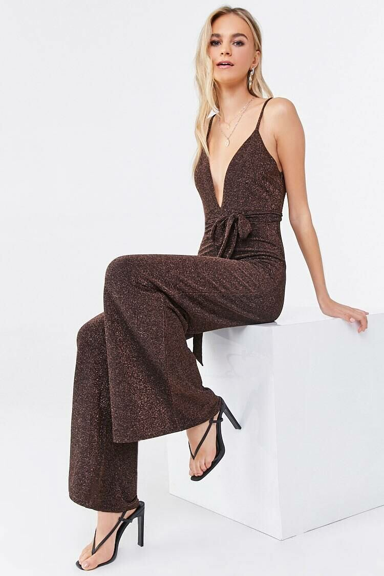 Forever 21 Black/Bronze Plunging Belted Metallic Jumpsuit WOMEN Women FASHION Womens JUMPSUITS